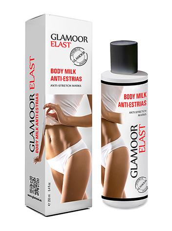 GLAMOOR FIRM, Body milk reafirmante, glúteos, abdomen, pecho.